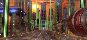 3D sci-fi street