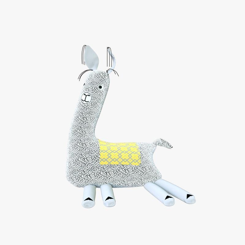 3D model soft toy llama
