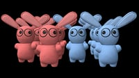 Blue and pink bunny toys