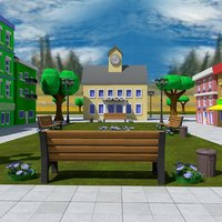cartoon garden square 3D