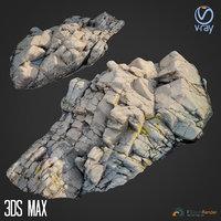 3d scanned rock cliff F