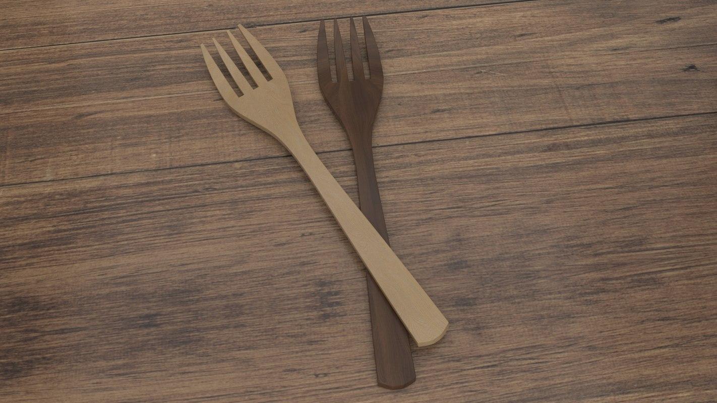 wood fork wooden 3D model