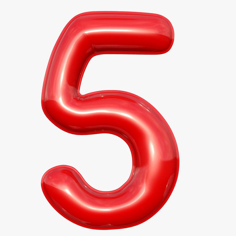 balloon numeral 5 3D