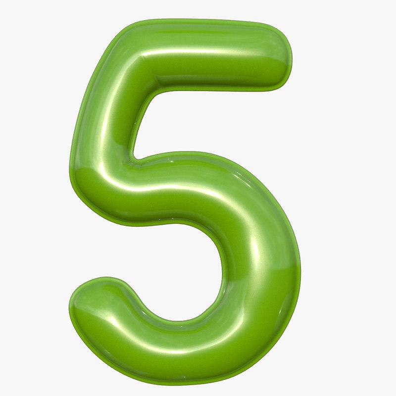 balloon numeral 5 3D model