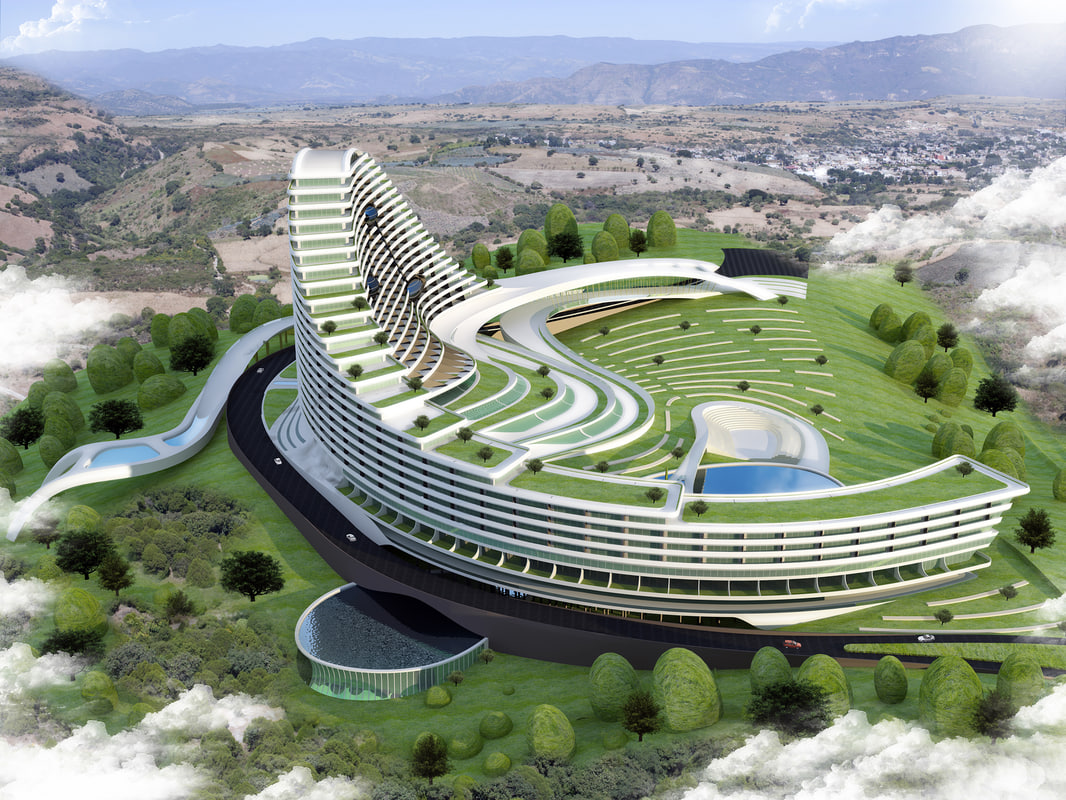 3D modern spa hospital building model