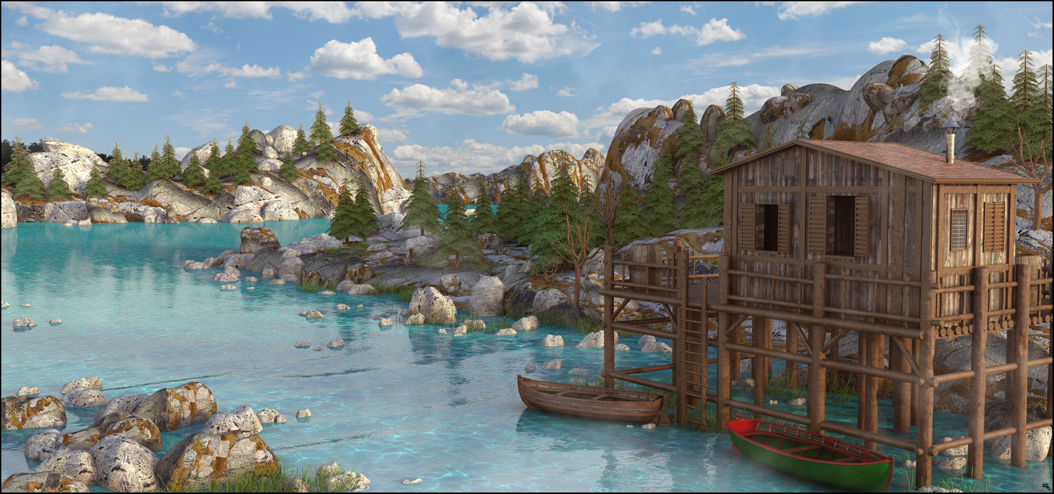 3D landscape environment lake model