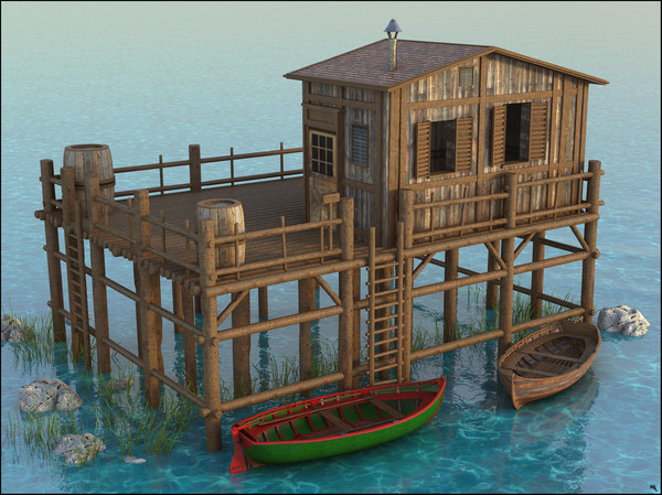 3D lake cottage