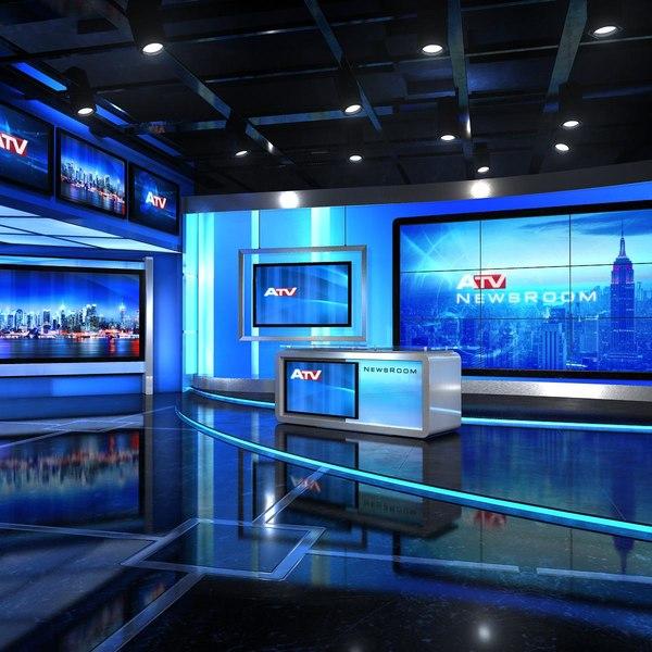 3D virtual set news studio