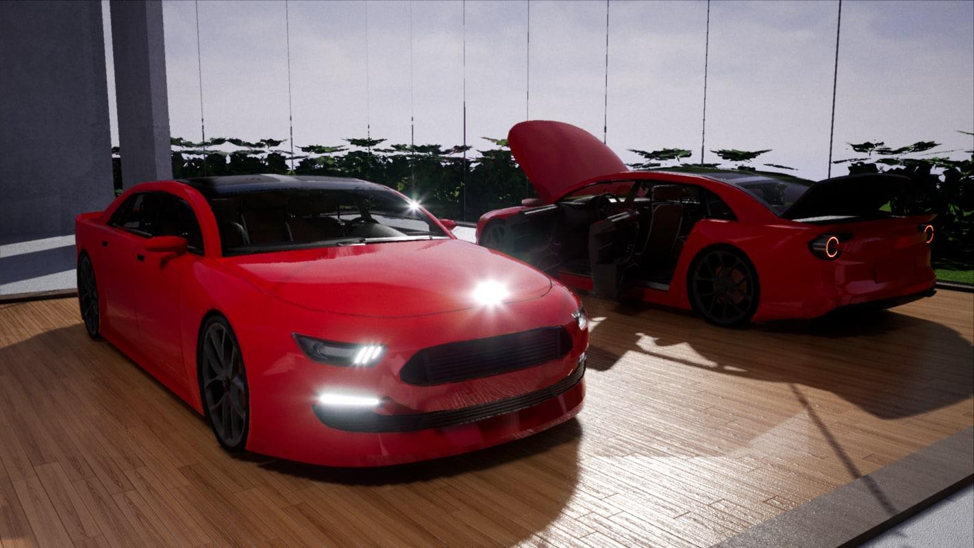 3D car size sedan 4 model