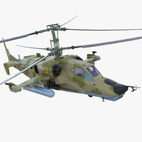 Attack Helicopter Kamov KA-50 Black Shark Rigged 3D Model