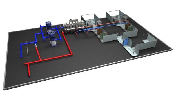 emergency chiller ahu pumps 3D