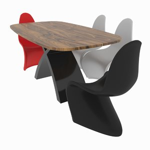 3D dining set consisting table chair model