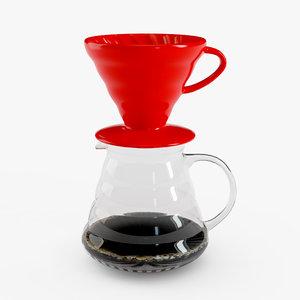 3D model v60 coffee drip hario