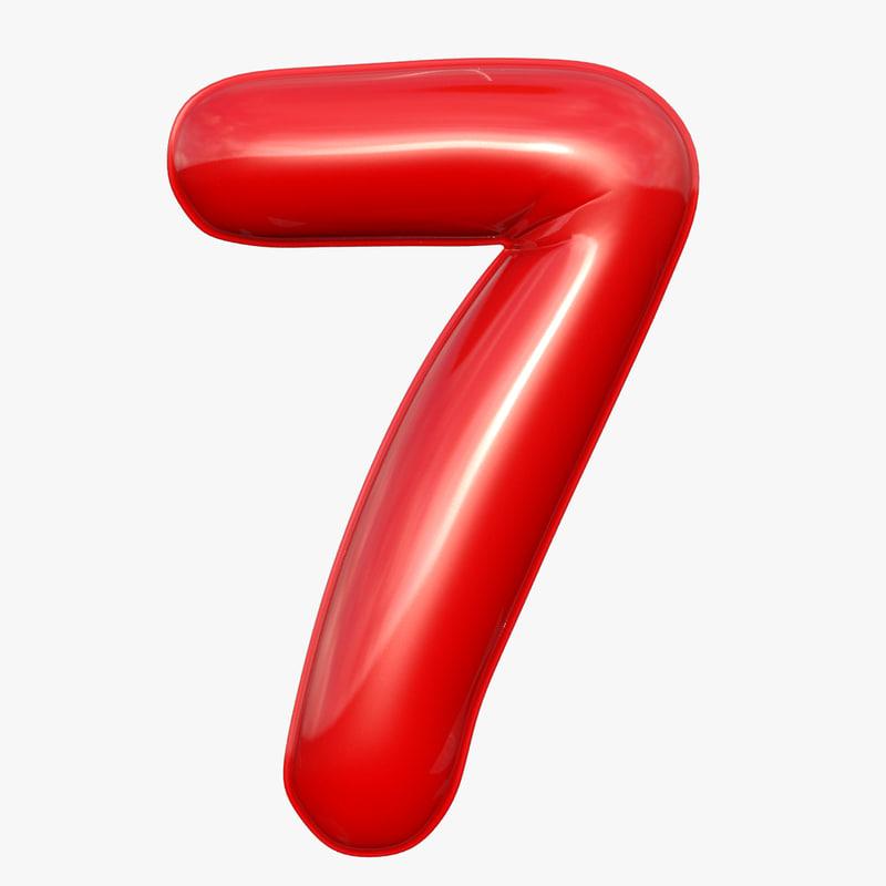 3D balloon numeral 7