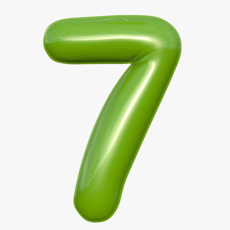 balloon numeral 7 3D model