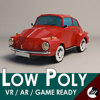 Low-Poly Cartoon VW Beetle