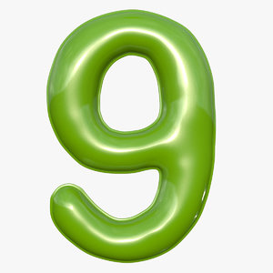 3D balloon numeral 9 model