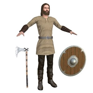 3D viking rigging man model