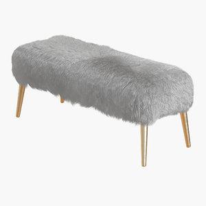 3D wool churra white sheepskin