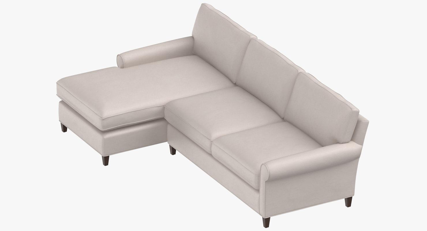 3D model contemporary sectional sofa