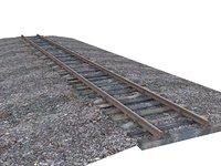 gauge rails wood 3D model