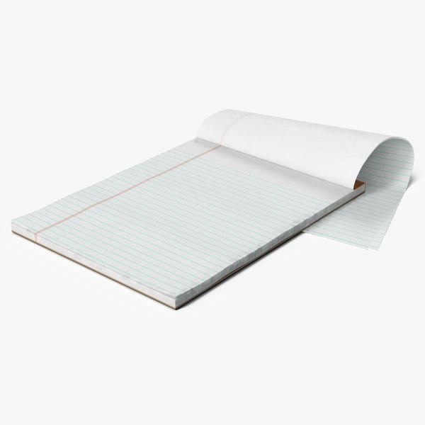 blank white writing pad model