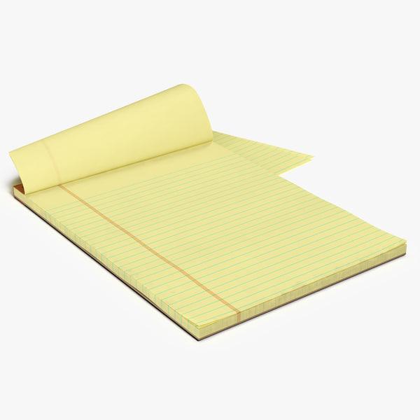 blank yellow legal pad 3D model