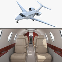 Business Jet Cessna Citation X with Interior 3D Model