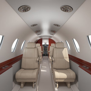 3D business jet interior cockpit