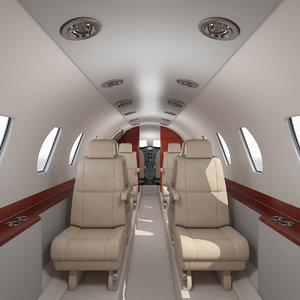 3D business jet interior cockpit