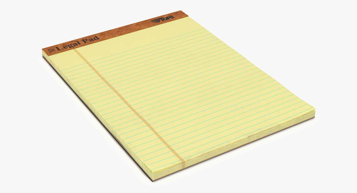 legal pad writing 3D