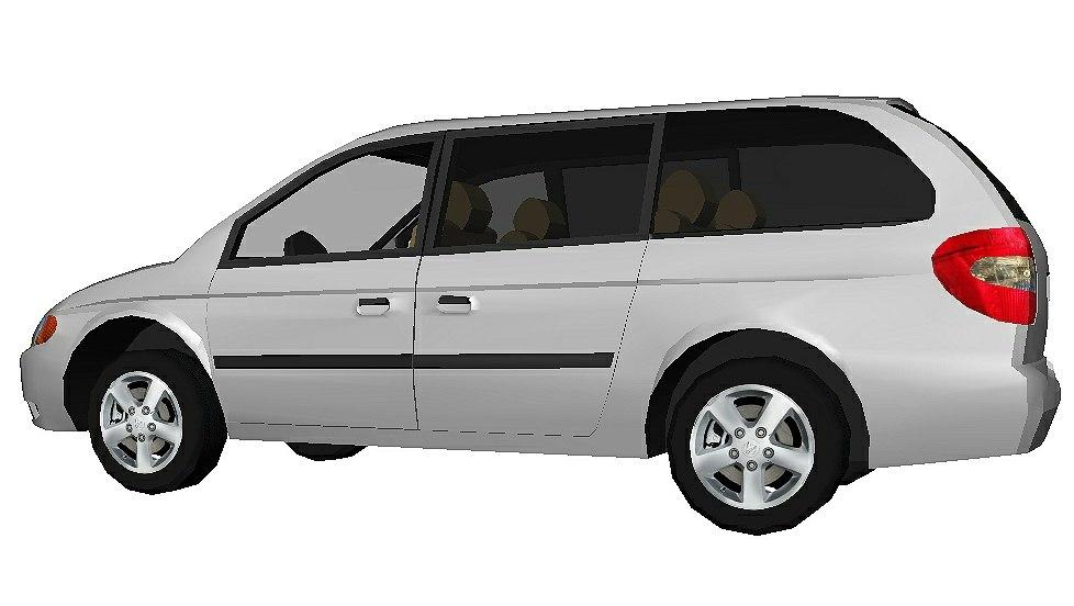 3D minivan silver