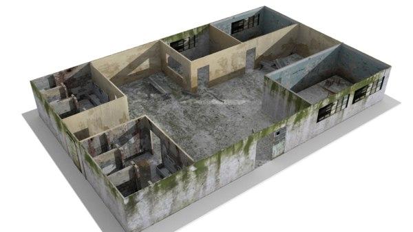3D abandoned school model