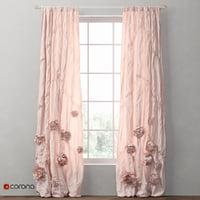 curtains washed appliqued fleur 3D model