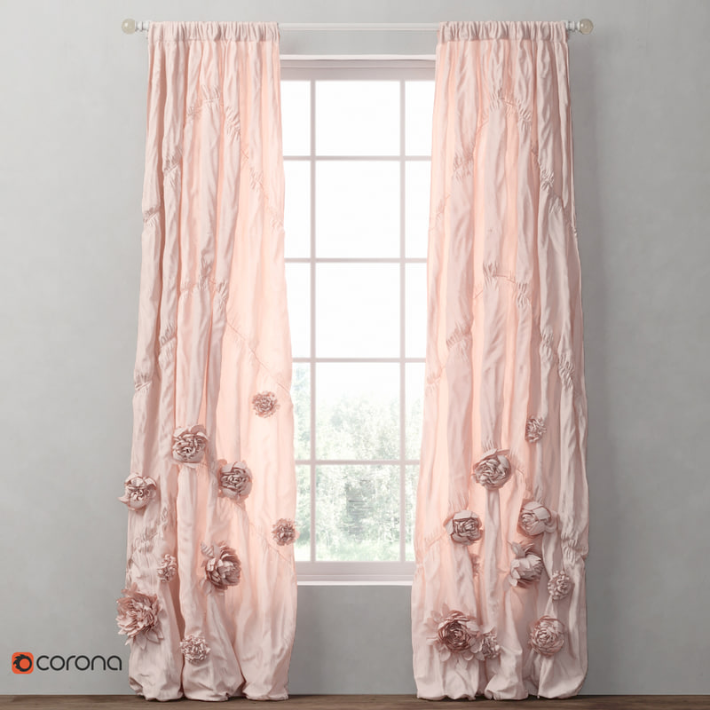 curtains washed appliqued fleur 3D model