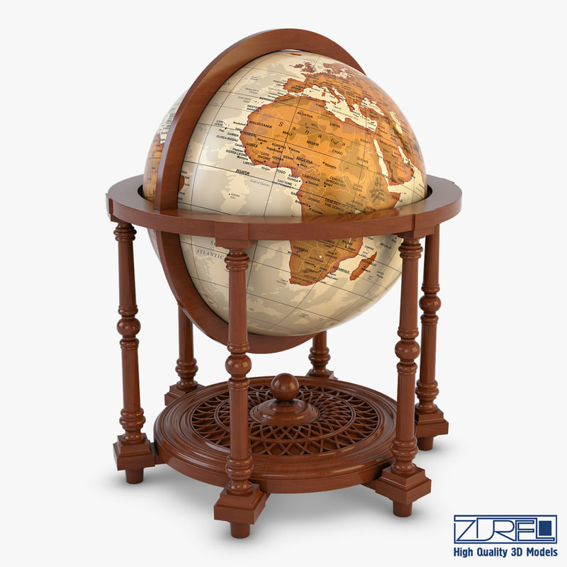 3D antique globe mapping world