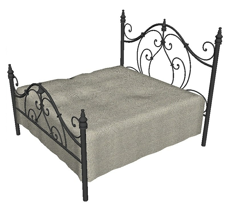 3D model bed wrought iron