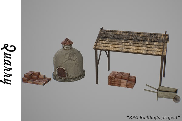 medieval quarry buildings 3D model