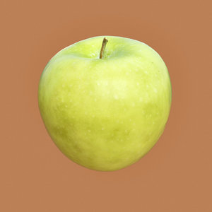 3D closeup granny smith apple model