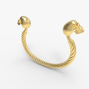 skull men s bracelet 3D model