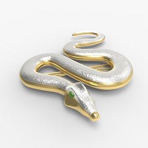 3D snake brooch