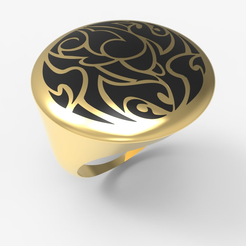 mens gold ring 3D
