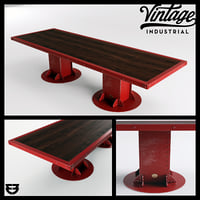 3D vintage industrial beam dining table