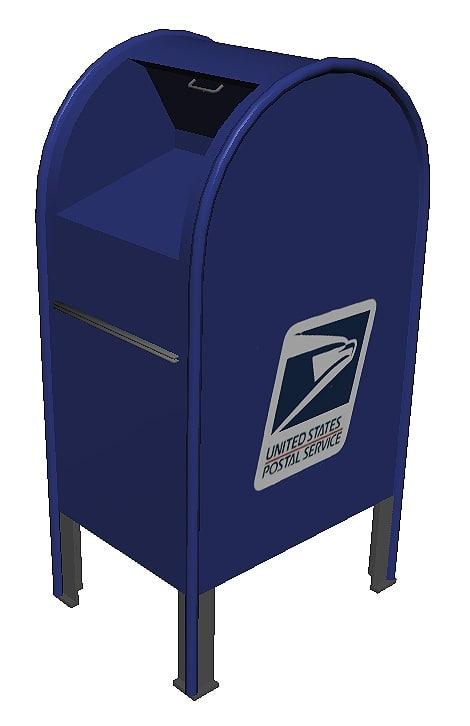 mailbox blue 3D model