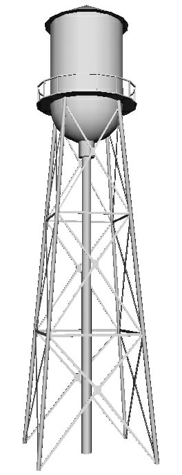 town water tower 3D model