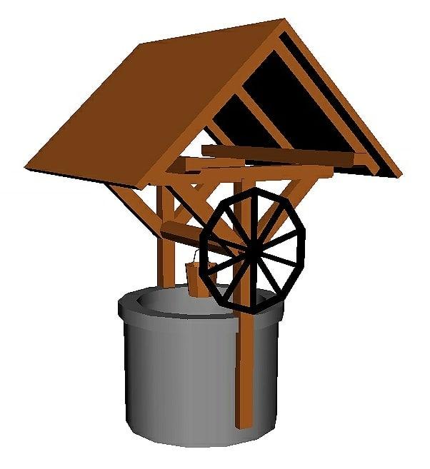 3D water farm medieval model