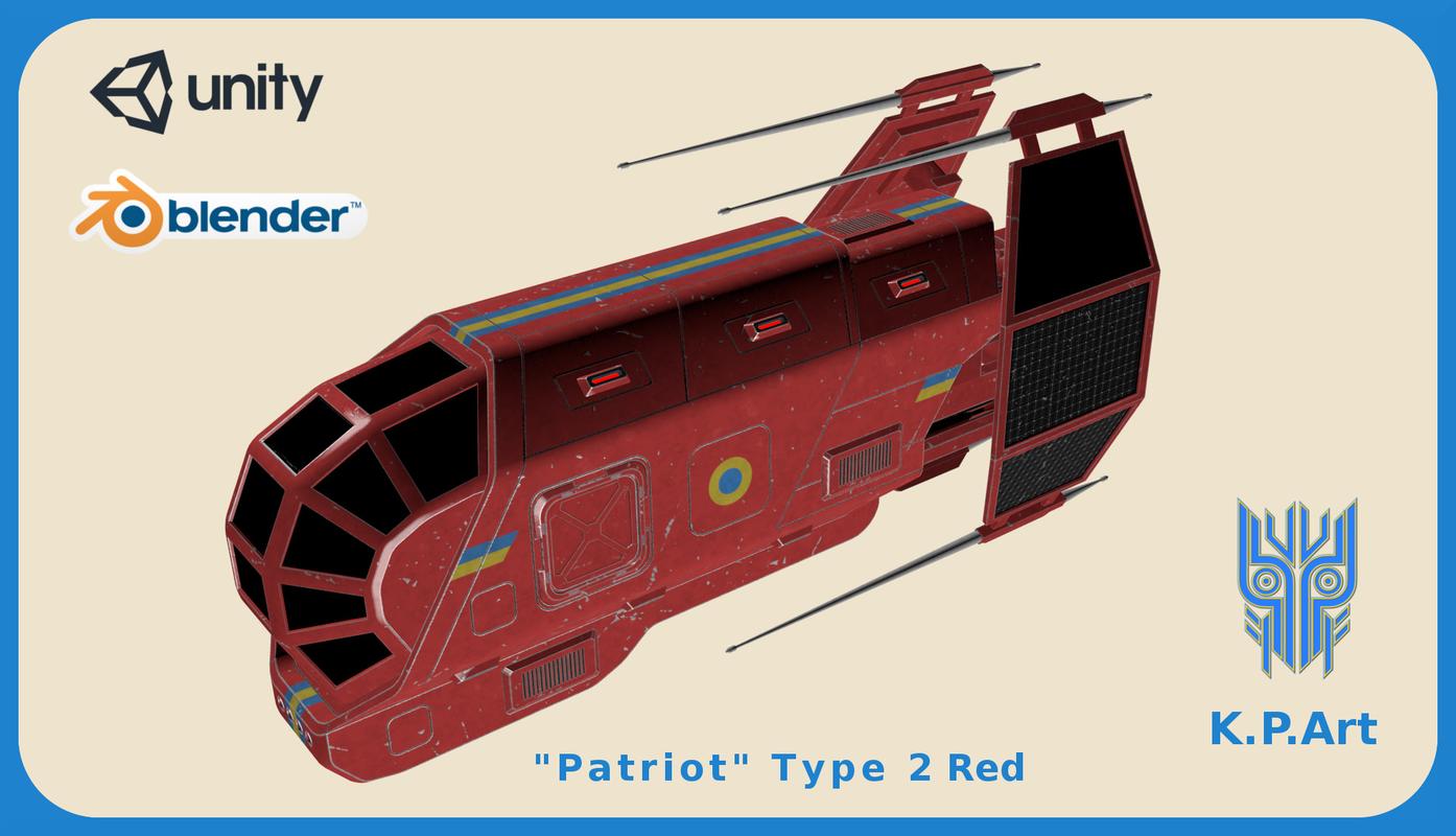 3D space ship patriot type