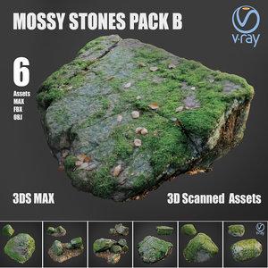 mossy stones b 3D