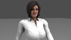 3D office girl