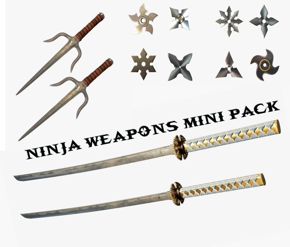 3D ninja weapons mini pack model